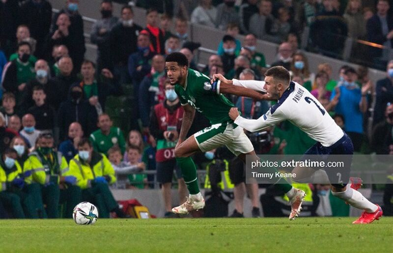Andrew Omobamidele of Republic of Ireland in action against Strahinja Pavlovic of Serbia during the FIFA World Cup 2022 qualifying group A match between Republic of Ireland and Serbia at the Aviva Stadium in Dublin