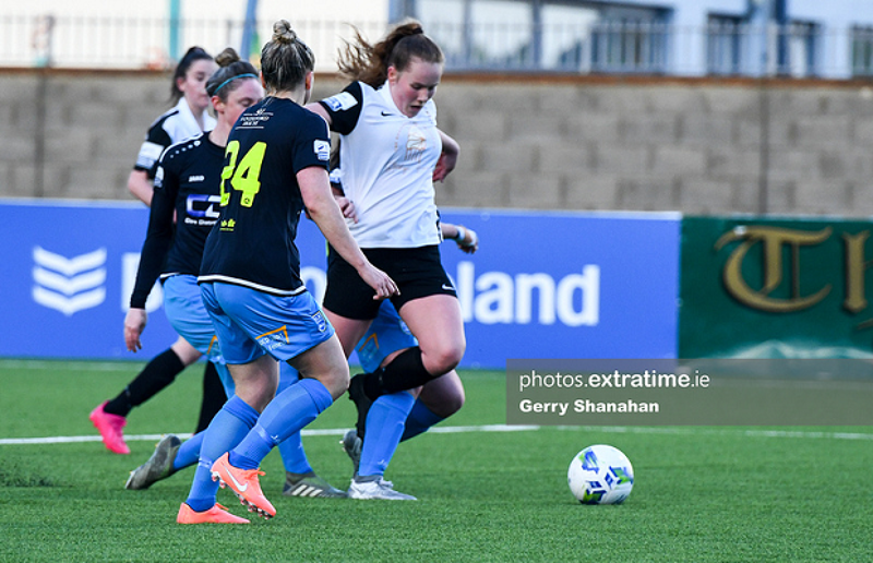 Muireann Devaney is taken down in the box by DLR Waves during her side's 1-0 loss at Athlone Town Stadium on Saturday, 15 May.
