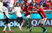 Attila Fiola of Hungary celebrates with Nemanja Nikolic after scoring their side's first goal during the UEFA Euro 2020 Championship Group F match between Hungary and France at Puskas Arena on June 19, 2021 in Budapest, Hungary
