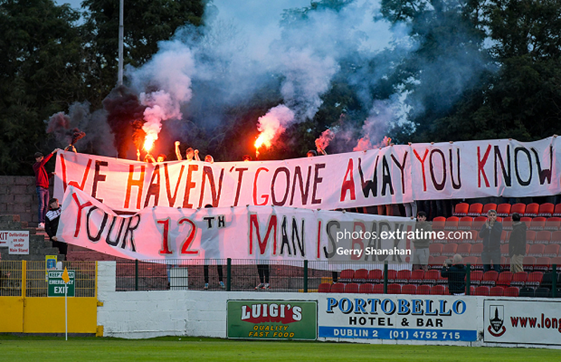 Longford Town fans show their support at Bishopsgate during De Town's 1-0 win over Dundalk on Saturday, 11 September.