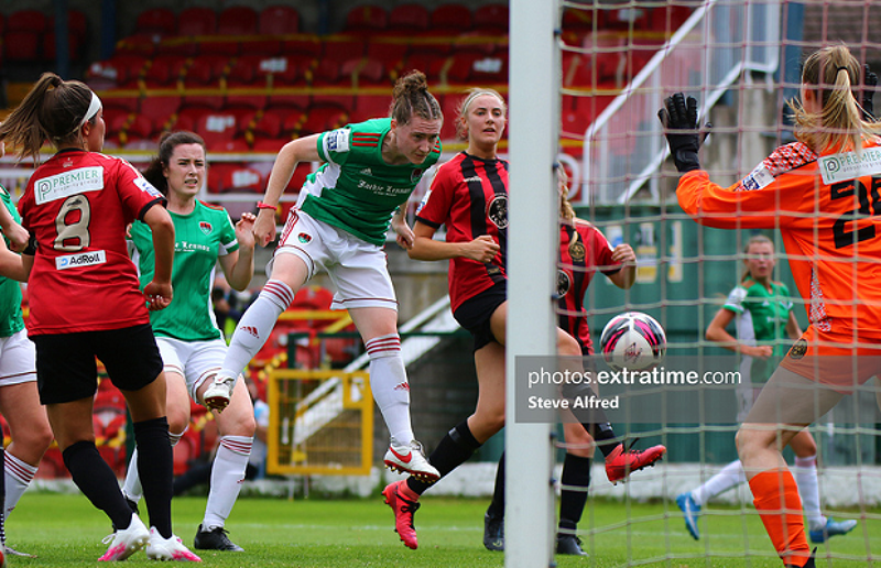 Becky Cassin scoring the winning goal against Bohemians in Cork City's first win of the 2021 WNL season on Saturday, 3 July at Turners Cross.