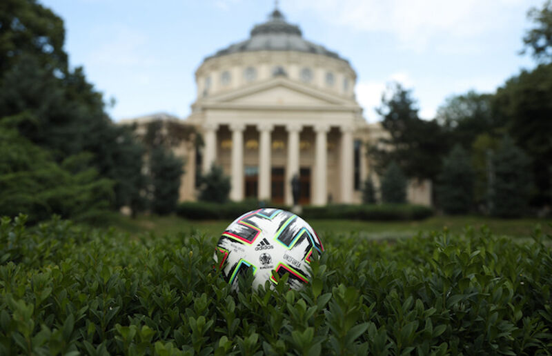 The Adidas Uniforia official match ball at Romanian Athenaeum in Bucharest. North Macedonia play two of their group games in Bucharest