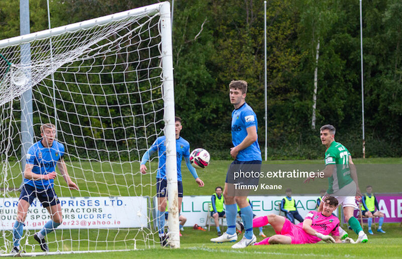 Jack Walsh of Cork City watches on as his header comes back off the post