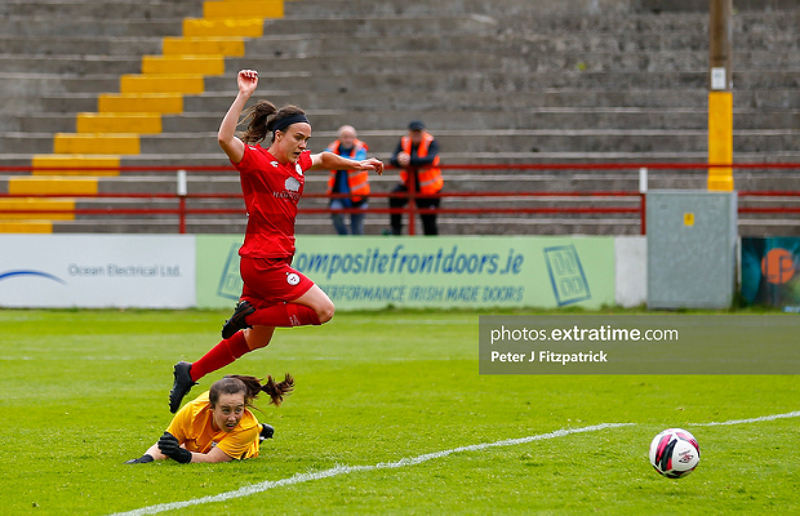 Ciara Grant of Shelbourne LFC watches as her ball goes into the back of the net during Shelbourne's 5-0 win over Athlone Town on Saturday, 5 June 2021.