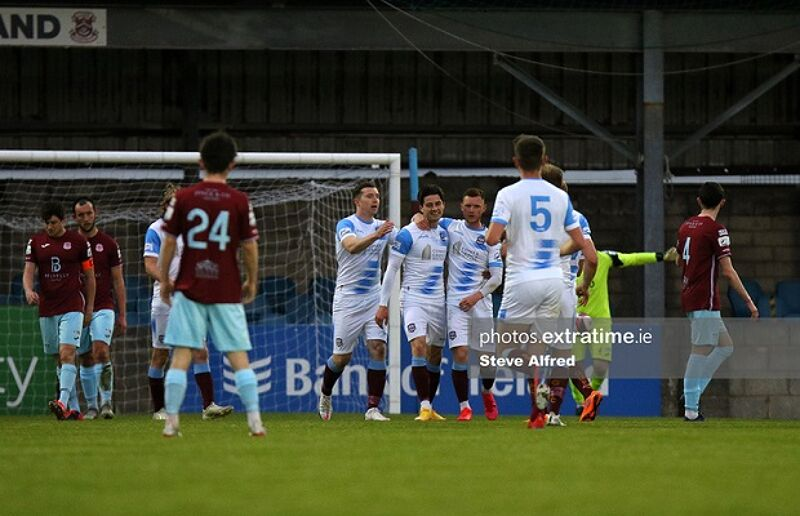 Ruairí Keating is congratulated by teammates after scoring during Galway United's 4-0 win over Cobh Ramblers on Saturday, 1 May 2021.