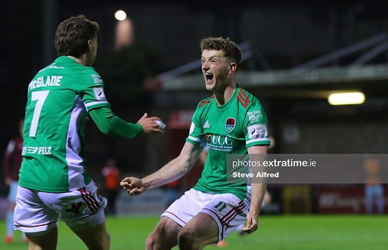 Dylan McGlade and Cian Bargery of Cork City after their side scores their first goal