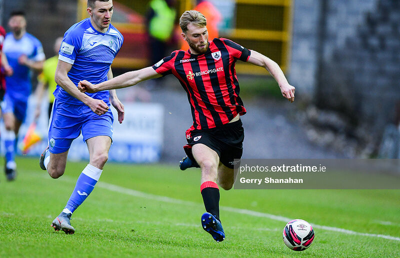 Aaron O'Driscoll of Longford Town FC with Sean Boyd of Finn Harps, during the Longford Town v Finn Harps, SSE Airtricity, Premier Division match at, Bishops Gate, Longford.