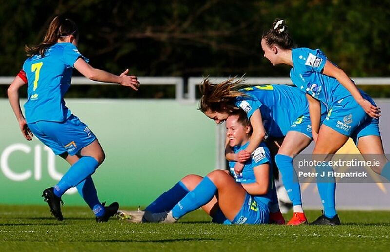 Carla McManus of DLR Waves celebrates scoring the opening goal with team mates against Wexford Youths on Saturday 3 April 2021