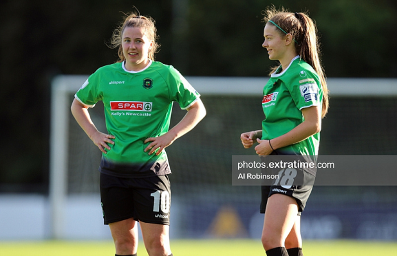 Eleanor Ryan-Doyle and Becky Watkins during Peamount United's 2-0 win over DLR Waves on Saturday, 22 May 2021.