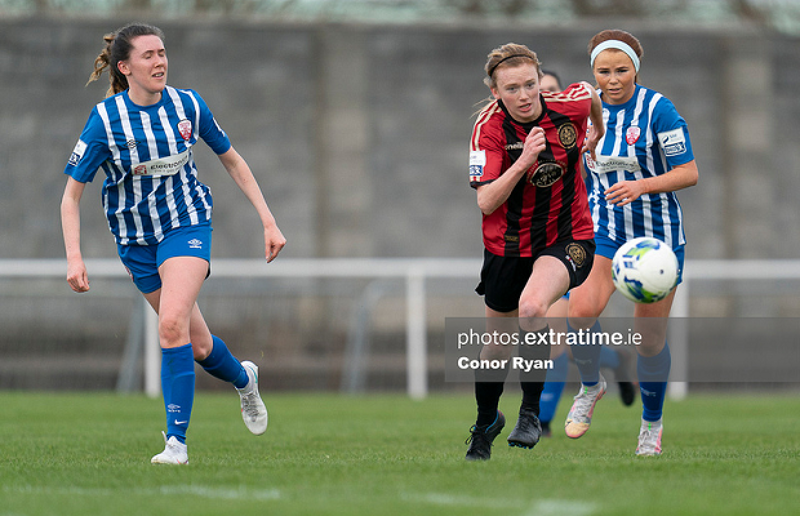 Erica Burke in action for Bohemians during their 6-2 win over Treaty United on Saturday, 27 March 2021.