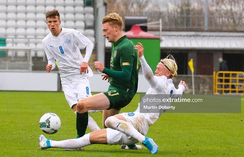Ireland under-21s' Liam Scales in action against Iceland in Tallaght.