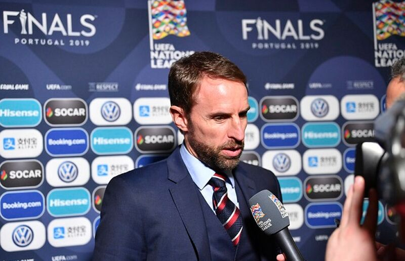 England coach Gareth Southgate during a flash interview following the UEFA Nations League Finals draw at the Shelbourne Hotel on December 3, 2018 in Dublin, Ireland. (Photo by Harold Cunningham - UEFA/UEFA via Getty Images)