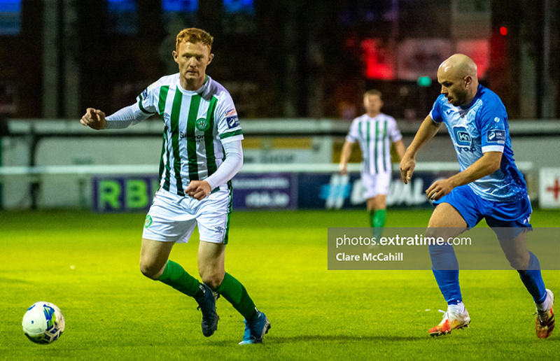 Gary Shaw under pressure from Finn Harps' Mark Coyle during an FAI Cup meeting between the sides on Saturday, 29 August 2020.