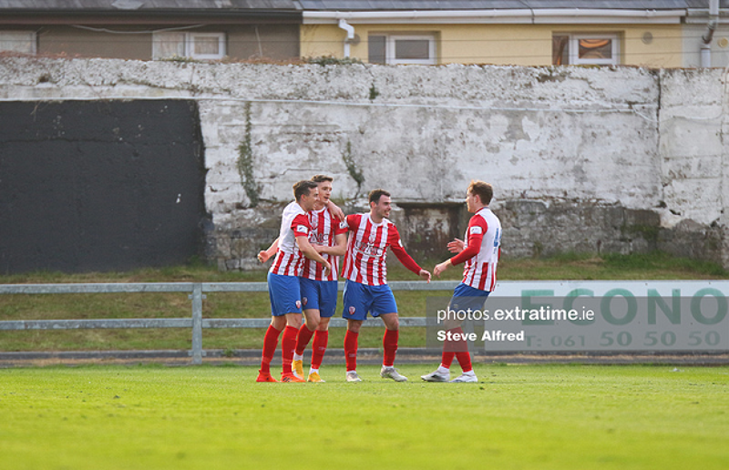 Treaty United celebrate Sean McSweeney's goal against Cobh Ramblers on Friday, April 9 2021.