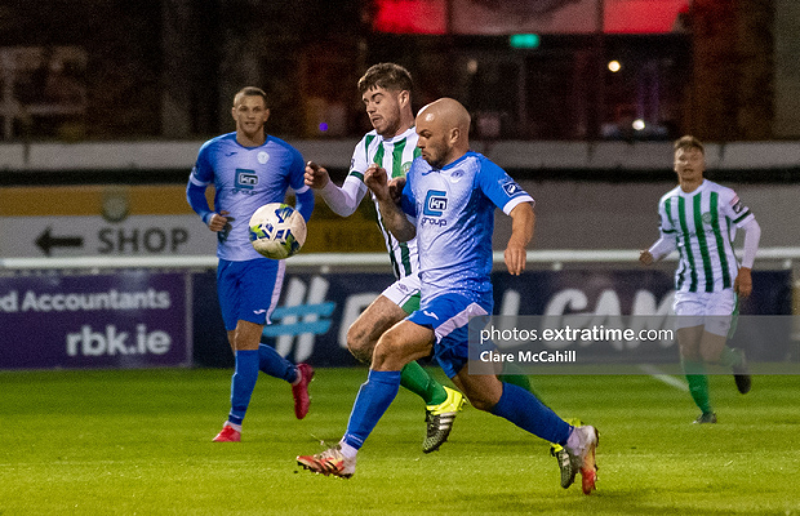 Mark Coyle in action for Finn Harps against Bray Wanderers during the 2020 season.