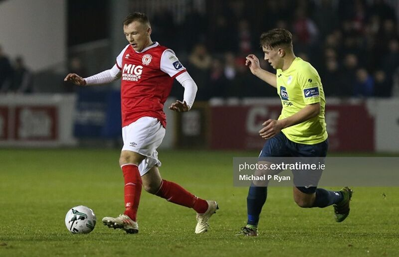 Niall McGinley in action against St Patrick's Athletic's Jamie Lennon during the 2019 season.