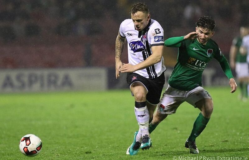 Barrett in action for Dundalk against Cork City in the President's Cup in 2017