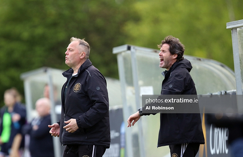 Bohemians assistant manager Patrick Trehy and manager Sean Byrne on the sideline during hteir side's 1-0 loss to DLR Waves on Saturday, 8 May 2021.