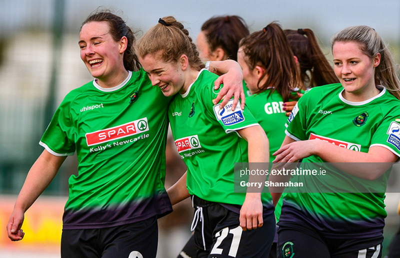 Lucy McCartan, Orlagh Fitzpatrick and Louise Masterson celebrate during Peamount United's 6-0 win over Athlone Town in the Women's National League on Saturday, 8 May 2021.