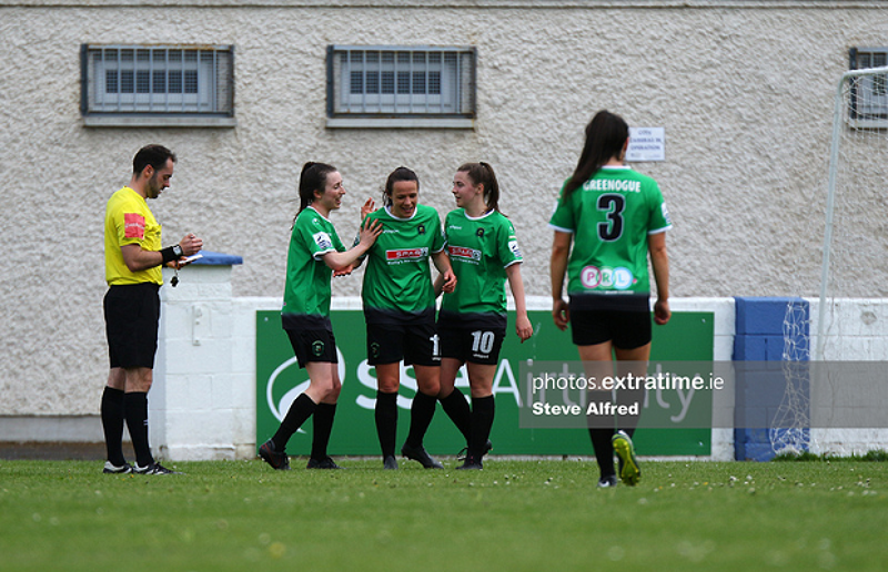 Aine O'Gorman is congratulated by teammates after scoring against Treaty United on Sunday, 2 May.