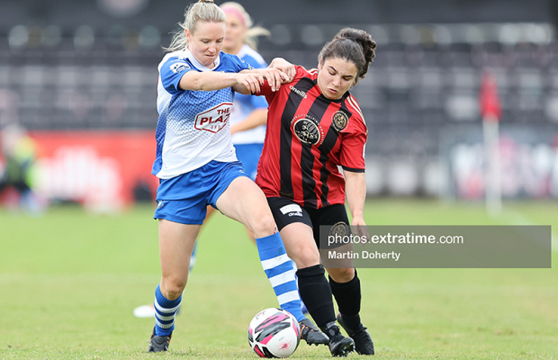 Ruth Fahy challenges Naima Chemaou for the ball during Galway's 1-1 draw with Bohemians at Dalymount Park on Saturday, 26 June 2021.