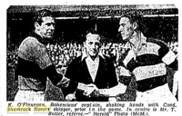 Bohs captain Kevin O'Callaghan shakes hands with Hoops skipper Paddy Coad