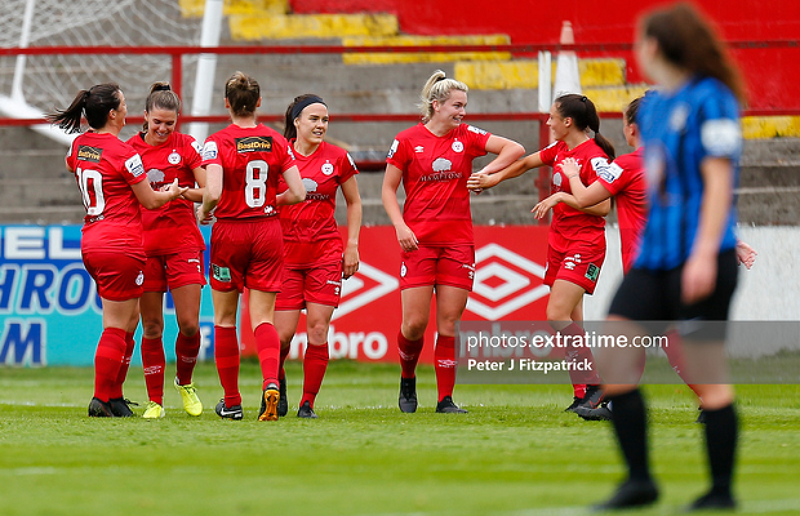 05.06.2021, Tolka Park, Dublin, Leinster, Ireland, SSE Airtricity Women's National League, Shelbourne LFC v Athlone Town AFC Ladies; Jamie Finn of Shelbourne LFC celebrates scoring the opening goal