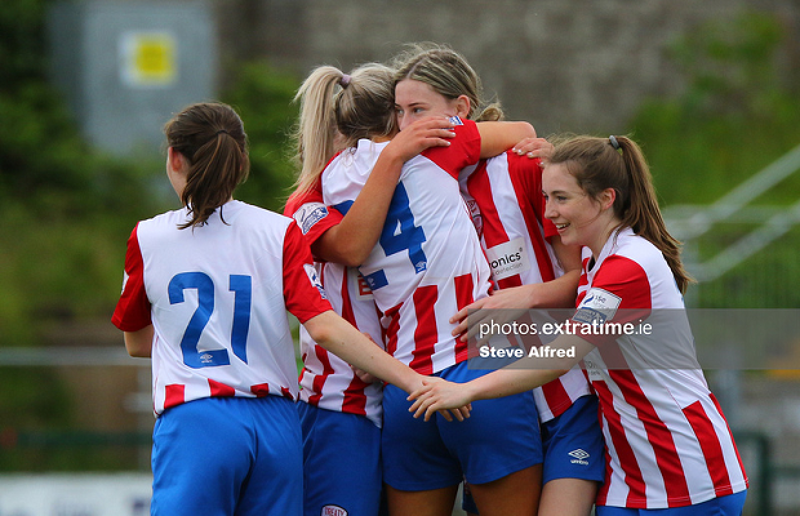 Treaty United players celebrate their 3-2 victory over Cork City in the WNL on Saturday, 22 May 2021.