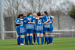 Treaty United huddle ahead of their WNL clash against Bohemians in March 2021.