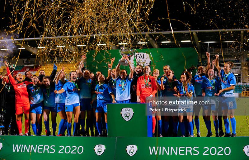Peamount United lifting the FAI Women's Cup after beating Cork City in December 2020.