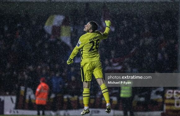 Brendan Clarke of St Patrick's Athletic celebrates at the end of the game