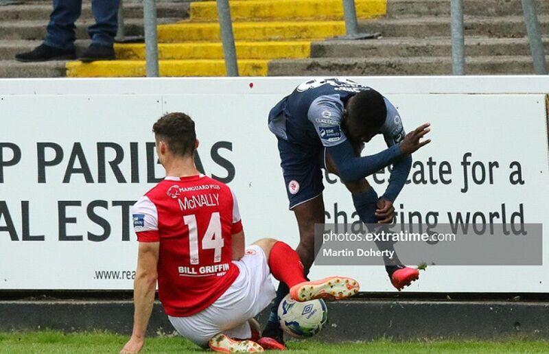 Luke McNally of St Patrick's Athletic tackles Junior Ogedi-Uzokwe of Sligo Rovers during their Premier Division clash of September 12th, 2020.
